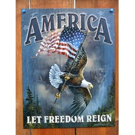 America Let Freedom Ring Tin Sign Bald Eagle American Flag USA Military POW D82
