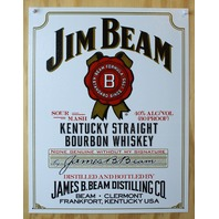 Jim Beam Tin Metal Sign White Label Louisville Kentucky Bourbon Whiskey Bar B29
