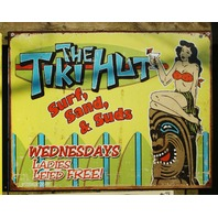 Tiki Hut Tin Sign Surf Sand Suds Tiki Party Hawaii Island Girl Hula Skirt
