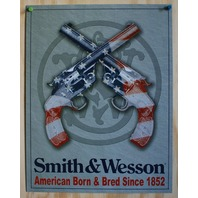 Smith & Wesson Tin Sign Pistol Revolver Hand Gun American USA Flag Country