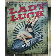 Lady Luck Bomber Tin Sign Garage USA Military Pin Up Air Force Tattoo Art E130