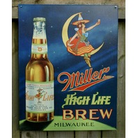 Miller High Life Classic Beer Witch Milwaukee Bar Garage brew tin metal sign
