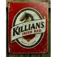 Killians Irish Red Beer Classic Horse Head Lager Tin Sign Bar Bottle Label