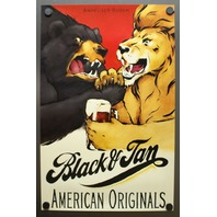 Anheuser Busch Black And Tan Beer American Original Poster Mint Rare Vintage