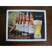 Budweiser History of Bud bottle logo Tin Metal Sign Bar Mancave Garage Beer