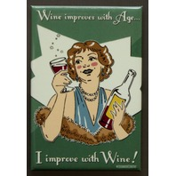 Wine Improves With Age Improve With Wine Fridge Magnet Bar Kitchen Humor D4