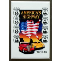 US Route 66 Americas Highway FRIDGE MAGNET Hot Rod Garage Mechanic Car Truck D9