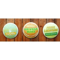 Citrus Juice Round Tin Metal Signs Set of 3 Lemonade Lemon Lime Orange Juice