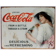Coca Cola Bottle Through A Straw Tin Sign Soda Bottle White Dress Fountain Coke B103