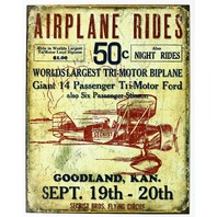 Airplane Rides Secrist Bros Flying Circus Tin Sign Bi Plane Weathered B47
