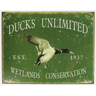 Ducks Unlimited Wetlands Conservation Tin Sign Hunting Outdoors Hiking Rifle