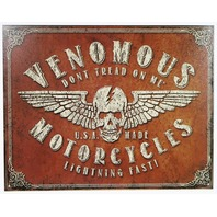 Venomous American Made Motorcycles Tin Sign USA Skull Flag Dont Tread On Me D113