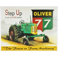 Step Up To A Oliver Tractor Tin Sign Country Farm Barn Decor harvester Farmer E123