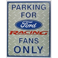 Parking for Ford Racing Fans Only Tin Sign Mustang Nascar Busch Race Garage D112