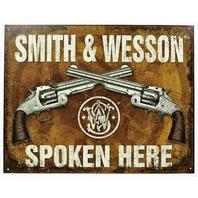 Smith & Wesson Spoken Here Tin Sign .44 .38 Hand Gun Pistol Ammo Revolver