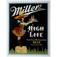Miller High Life Tin Sign Man Cave Garage Bar Beer Witch Alcohol Milwaukee