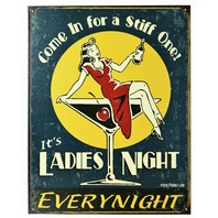 Ladies Night Tin Sign Home Bar Man Cave Martini Drink Kitchen Liqour Humor Funny
