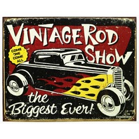 Vintage Rod Show Tin Sign Man Cave Mechanic Pontiac Ford Chevy Dodge Auto