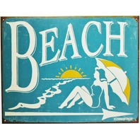 Beach Tin Metal Sign Summer Vacation Ocean Florida Pool Water Park Swimming Tan