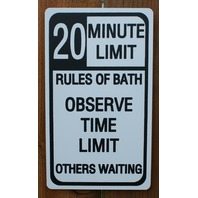 20 Minute Limit Bath Time Tin Metal Sign Bathroom Decor Humor Teen Shower F8