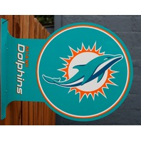 Double Sided Miami Dolphins Flange Tin Metal Sign NFL Football Team Sports F95
