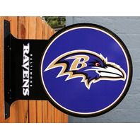 Double Sided Baltimore Ravens Flange Tin Metal Sign NFL Football Team Sports