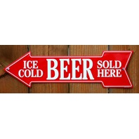 Ice Cold Beer Sold Here Metal Arrow Tin Sign Beer Cave Store Garage Alcohol G43