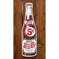 Large Pepsi Cola Glass Bottle Tin Metal Sign Vintage Style Soda Pop Garage G42