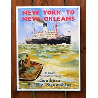 New York to New Orleans Southern Pacific Steamships Tin Sign Ship Ocean