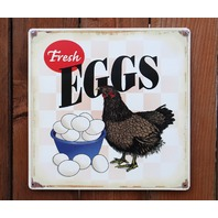 Fresh Eggs Tin Sign Country Kitchen Chicken Rooster Farm Breakfast D66