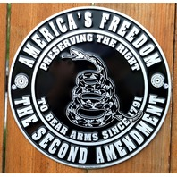America's Freedom The 2nd Second Amendment Tin Sign USA  Arms Gun Rights