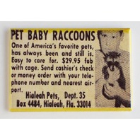 Pet baby raccoons comic book magazine ad FRIDGE MAGNET retro reproduction o10