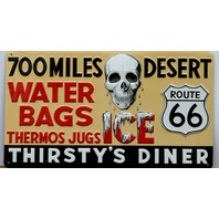 Route 66 Thirstys Diner Premium Embossed Tin Sign Skull Ice Water Ande Rooney FF