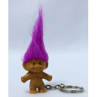 Vintage Russ Troll Doll Key Chain Pink Purple 1980's Vintage Stock FF