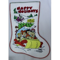 Vintage Flintstones Happy Holidays Christmas Stocking Hanna Barbera made in US