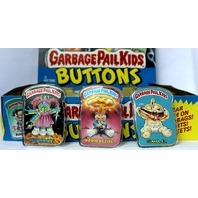 Vintage Topps Garbage Pail Kids Button Set of 3 GPK 1980's Pop Art Lot 1