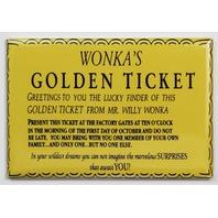 Wonka Golden Ticket FRIDGE MAGNET Willy Wonka chocolate factory entry ticket