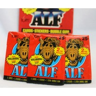 3 Packs of Vintage Topps ALF 2nd Series Wax Pack Trading Cards Collectors 1987