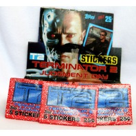 3 Packs of Vintage Topps T2 Terminator 2 Wax Pack Trading Cards Schwarzenegger