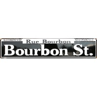 Rue Bourbon Street Tin Metal Street Sign New Orleans NOLA French Quarters E93