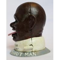 Cast Iron Smilin Sam Salted Peanut Man Mechanical Bank Black Americana bald head
