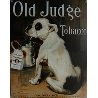 Old Judge Tobacco Tin Metal Sign Bulldog Pug Dog Vintage Style Ad Americana E117