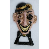 Retro Cast Iron Painted Winking Man Bottle Opener Unique Wham-ee Glass eye