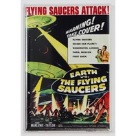 Earth Vs The Flying Saucers Movie Poster FRIDGE MAGNET Retro Vintage Style Sci FI Film