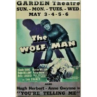 The Wolf Man Lon Chaney Movie Poster FRIDGE MAGNET Cult Classic Monster Movie N5