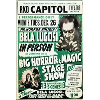 Bela Lugosi Horror and Magic Show Movie Poster FRIDGE MAGNET Vintage Style AD i4
