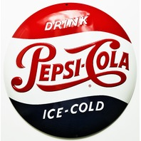 Drink Ice Cold Pepsi Cola Premium Embossed Tin Sign Restaurant Kitchen Ande Rooney  Coke Pop Soda