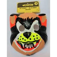 Vintage Crazy Cat Halloween Mask Cartoon 1960's 1967 Medica Safety Glow Y108