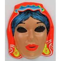 Vintage Gypsy Halloween Mask Zest Costume 1960's 60's Black Light Reactive Y090