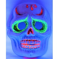 Vintage Sugar Skull Halloween Mask Zest 1960's 60's Skeleton Day of the Dead Black Light Reactive